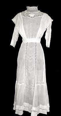 Angemessen Sehr Selten Antik Edwardianisch Hoher Kragen Baumwolle Bestickt Und Spitze Kleid