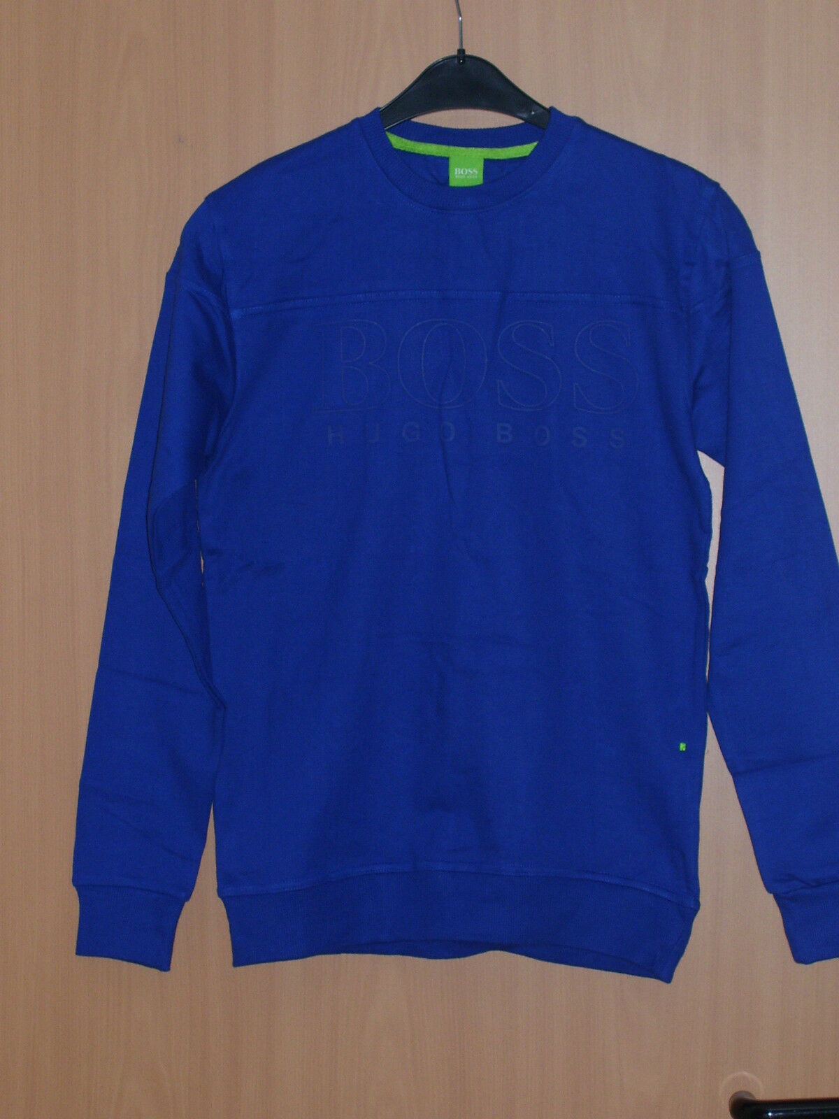 Hugo Boss Grün Label Sweatshirt Rundhals blau royalblau Langarm S M L neu