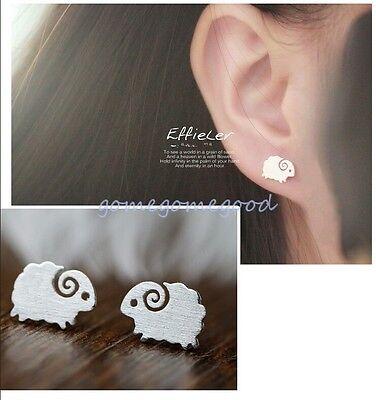 925 Sterling Silver - Sheep Goat Korea Animal Party Stud Mini Earrings Jewelry
