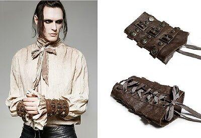 Punk Rave Gothic Steampunk Armstulpen Kunst-Leder Bedouin LARP Gloves WGT S200