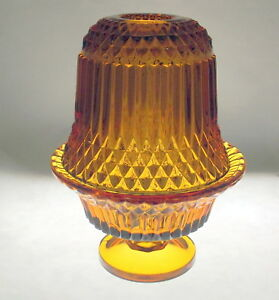 Indiana-Glass-Tiara-Amber-Diamond-Point-Fairy-Lamp-Candle-Holder-Vintage