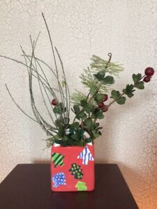 Double sided christmas silk floral arrangement home decor ceramic image is loading double sided christmas silk floral arrangement home decor mightylinksfo