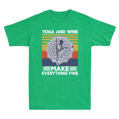 Hippie Girl Yoga And Wine Make Everything Fine Vintage Men/'s Short Sleeve Shirt