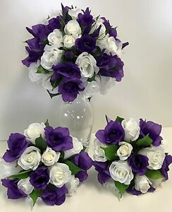 Wedding bouquet flowers silk flower cream white rose roses purple image is loading wedding bouquet flowers silk flower cream white rose mightylinksfo