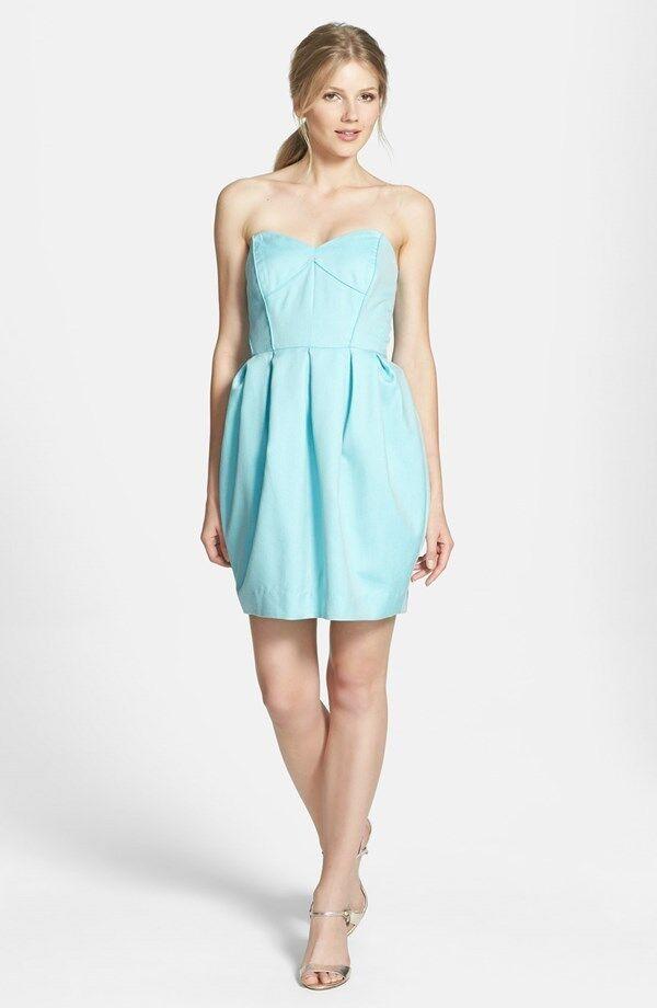 nyA SHOSANNA Jane Strapless Jacquard Fit &Flare Dress  375 storLEK 4 ljus blå