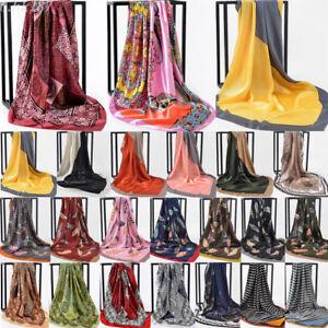 35-039-039-Women-039-s-Scarf-Head-Hijab-Floral-Print-Satin-Square-Shawl-Long-Wraps-Stole