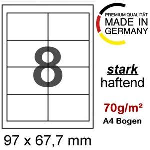 50 A4 Papier Etiketten 97 x 67 mm Format wie Avery Zweckform 3660 Herma 4426