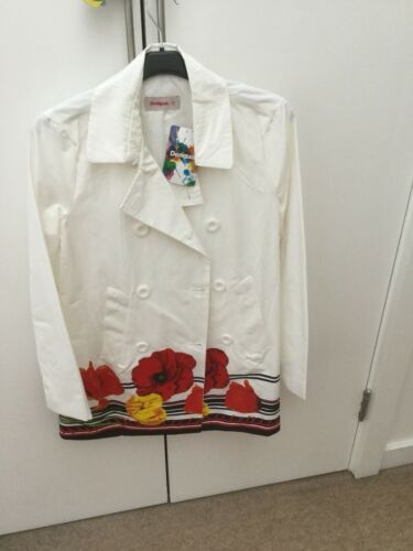 Desigual Taille Blanc Neuf Avec Grande Fleur Tout Manteau 8 rX8qr