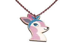Collana con Cervo rosa, rosa pastello Rockabilly carino Ciondolo IN LEGNO LASER CUT