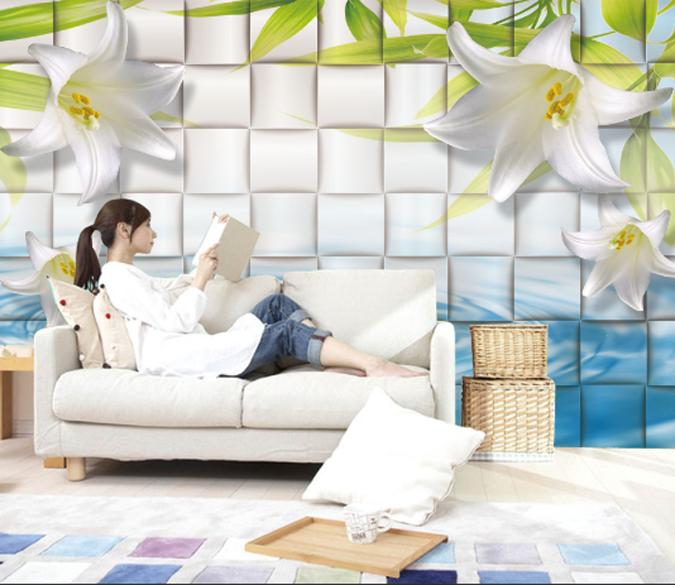 3D Plaid Flowers 792 Wallpaper Mural Paper Wall Print Wallpaper Murals UK Lemon