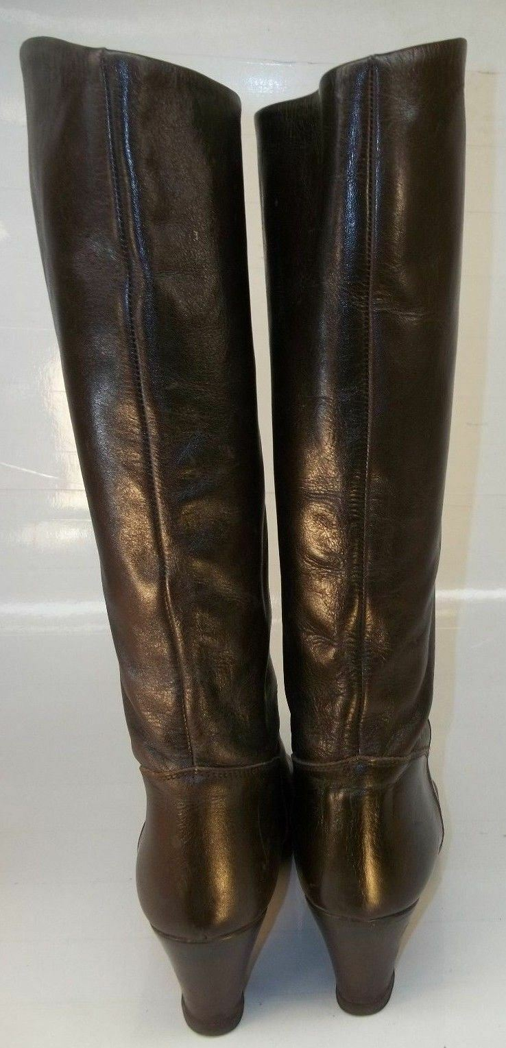 Wo's US7.5M US7.5M US7.5M Smooth Brown Leather Pull On Casual Tall Heels Boots  GUC 39a602