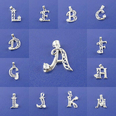 SILVER plated Alphabet Letters for 26pcs with Crystal Rhinestone pendant charms