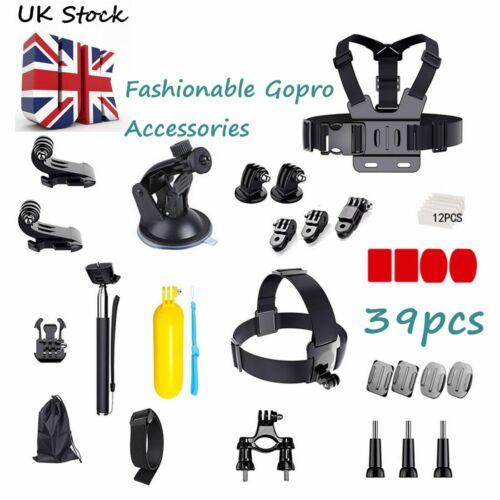 39PCS GoPro Accessories Kit Action Camera Acces Kits Bundle Head Mount Chest UK