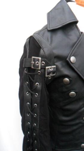 vera pelle Punk Emo nera Goth in steampunk Giacca 100 pelle wPqYgX1g