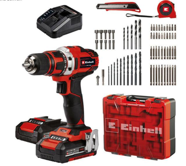 einhell 4513934 trapano a batteria + set punte +inserti avvitatore 2batterie 2ah
