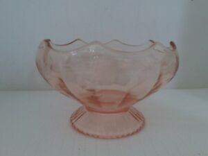 Pink-Depression-Glass-Fruit-Bowl-Candy-Dish-on-Pedestal-With-Etched-Flowers