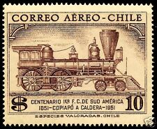 CHILE,100th. ANNIV. 1st. RAILROAD COPIAPÓ - CALDERA 1851 - 1951, MNH, AIR MAIL