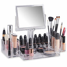 Beautify Clear Acrylic Cosmetic Makeup Display Organiser with Two Sided Mirror