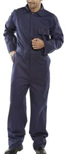 Click-Navy-Blue-100-Cotton-Stud-Front-Overalls-Coveralls-Boiler-Suit-Industrial