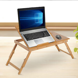 Foldable-Bamboo-Laptop-Stand-Notebook-PC-Desk-Table-Stand-Bed-Tray-w-Drawer