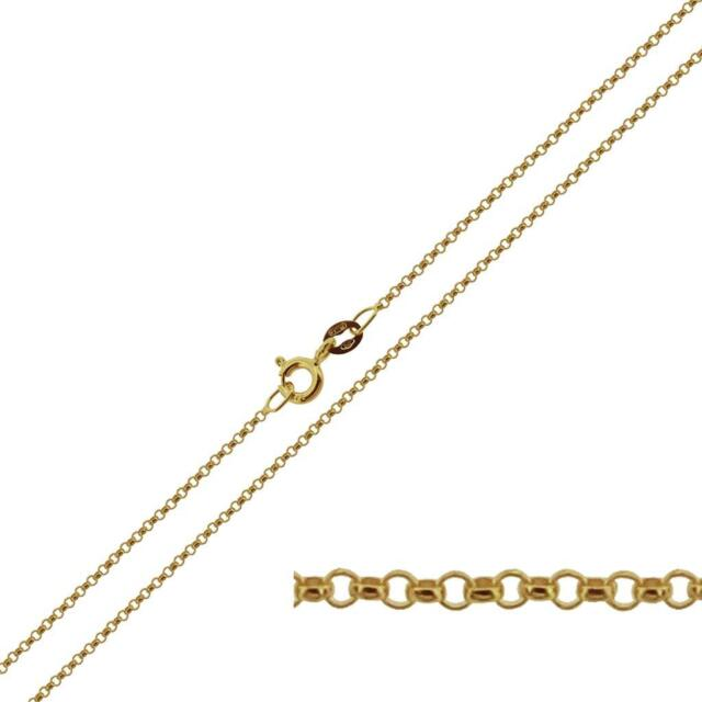 """9ct Solid Yellow Gold 14 - 30"""" inch 1.2mm Belcher Link Chain Necklace"""