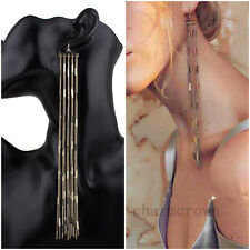 New Fashion Women Long Tassel Charm Dangle Drop Earrings Gold Chain Jewelry Gift