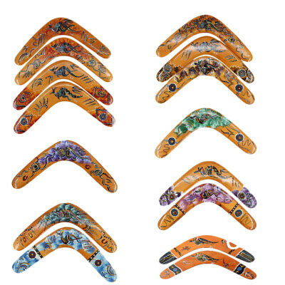 """decorated timber throwing boomerangs 29cm Australian Made set of 3 Carded 12/"""""""