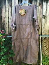 Shabby MAGNOLIA flower DRESS pearl buttons VICTORIAN wearable ART COUNTRY S M L