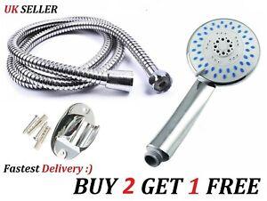1.5m Chrome Stainless Steel Flexible Bathroom Bath Shower Head Hose Pipe Washers