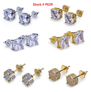 Men-Square-Round-Solitaire-Hip-Hop-Gold-Diamond-Screw-Back-Stud-Earrings-8-6-4mm
