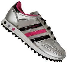 ADIDAS Originals La Trainer Bambini Ragazze Sneaker Scarpe Nero Argento Rosa 35