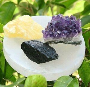 Meditation-Kit-Selenite-Disc-Plate-Orange-Calcite-Amethyst-Tourmaline