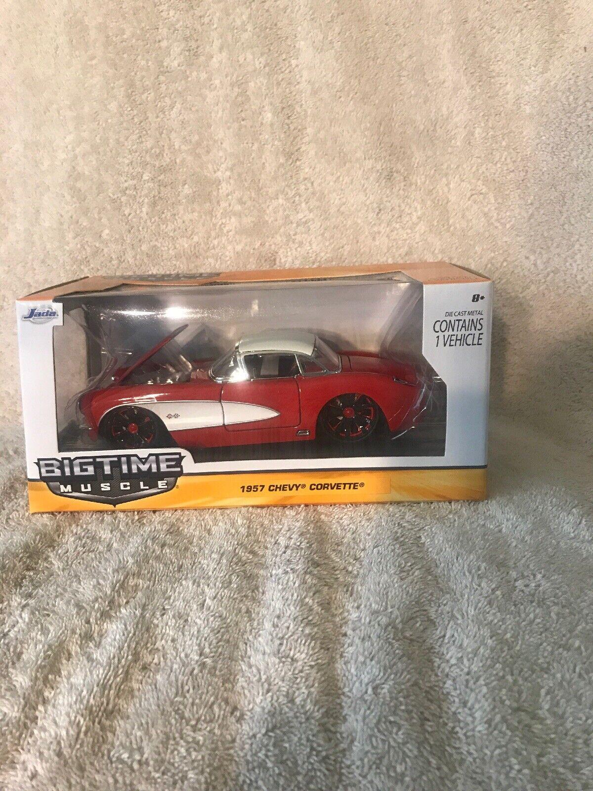 1 24 Jada Bigtime Muscle 1957 Chevrolet Corvette rojo y blancoo totalmente nuevo y muy difícil de encontrar