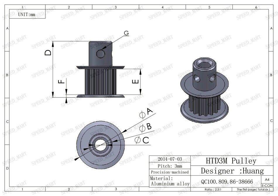 10 X MXL Timing Belt Pulley MXL18 Teeth 6.35mm Bore 7.5mm Width Stepper Motor