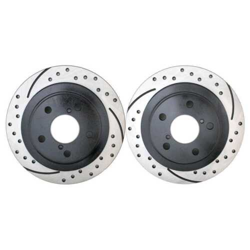 Front and Rear Kit Performance Drilled /& Slotted Brake Rotors And Ceramic Pads