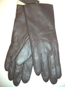 Ladies-100-Cashmere-Lined-Genuine-Leather-Gloves-Small-Brown
