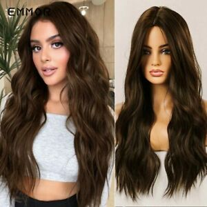 Emmor Brown with Blonde Long Wave Wig  Natural Wavy Cosplay Hair Wigs for Women