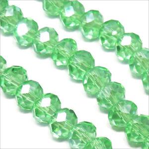 Lot-de-20-Perles-a-Facettes-Rondelles-en-cristal-8x6mm-Vert-clair