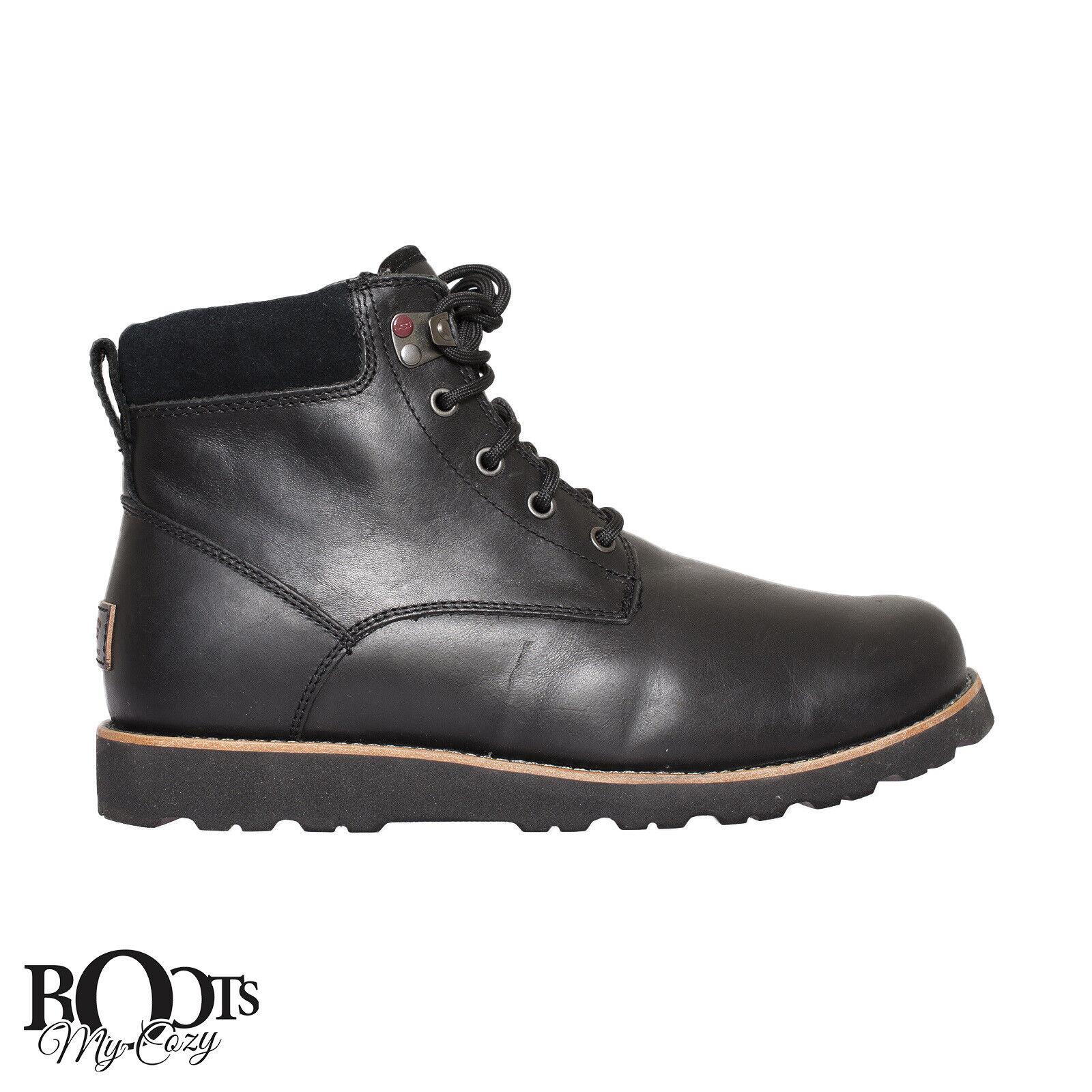 86621680553 UGG Seton TL Mens 1008146-blk Black Leather Treadlite Waterproof BOOTS Size  11