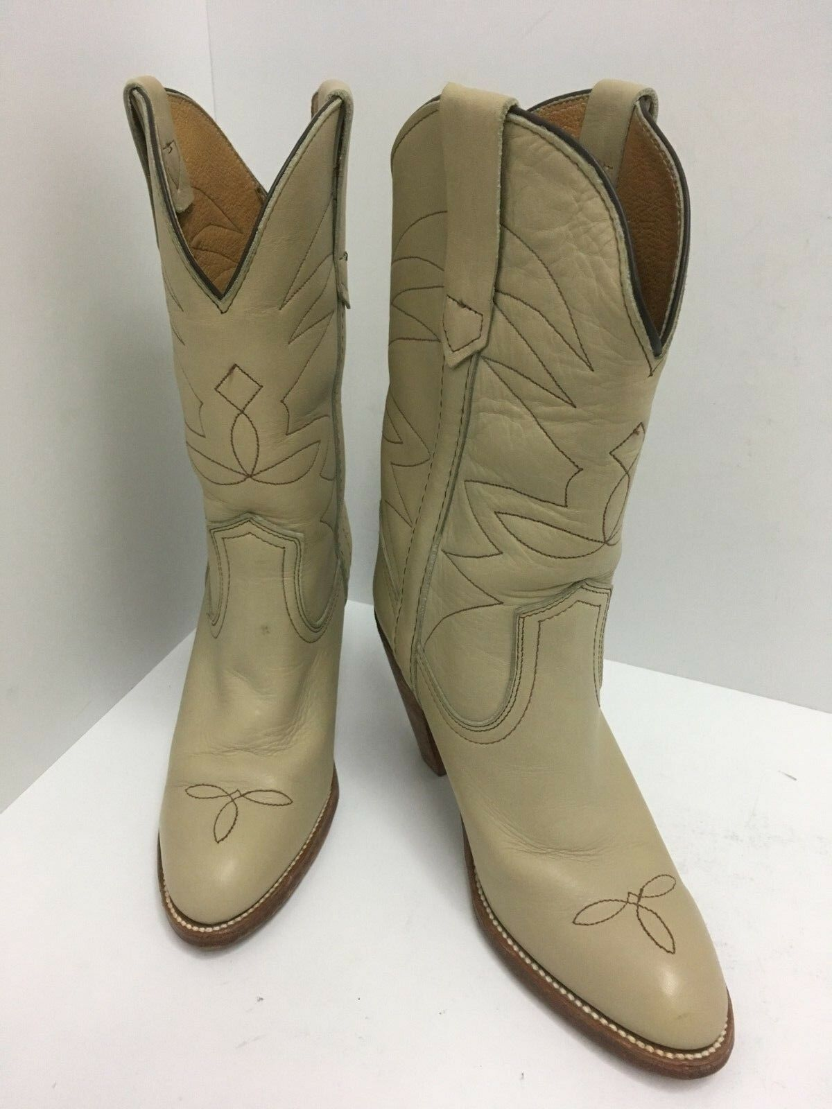 FRYE NUDE Leather Cowboy Western Boots Women's 6.5 B Stacked HIGH Heel 8808 USA