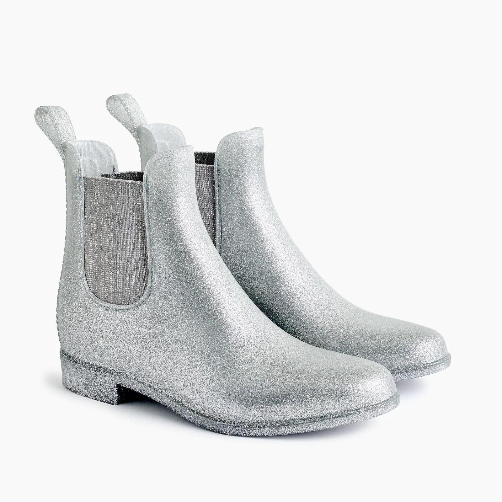 J. Crew Women's New in Box Glitter Chelsea Rain Boots - Glitter SIlver - Size 8
