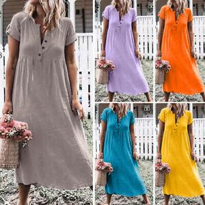 Summer-Womens-Boho-Loose-Casual-Solid-V-Neck-Linen-Short-Sleeve-Maxi-Dress-Plus