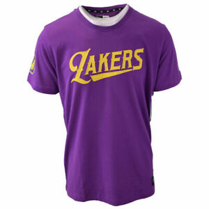 New-Era-Men-039-s-Los-Angeles-Lakers-Purple-Embroidered-S-S-T-Shirt-Retail-39-00