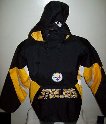best sneakers 02a14 c4ad8 PITTSBURGH STEELERS Starter Hooded Half Zip Pullover Jacket S M L XL 2X  BLACK | eBay