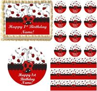 Red And Black Little Ladybug 1st Birthday Edible Cake Topper Image Decoration