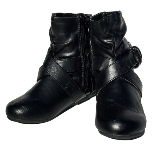 Girl/'s Low Flat Heel Boots Faux Leather Buckle Strap Shoes Dress Mid Calf Booty