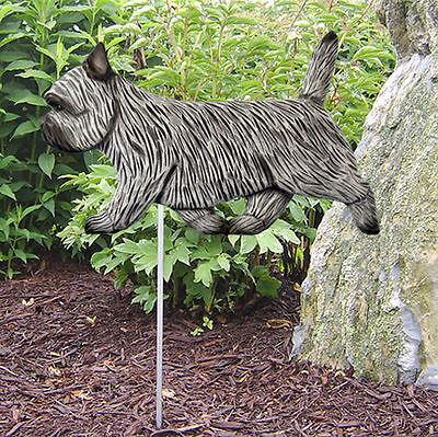 Cairn Terrier Outdoor Garden Dog Sign Hand Painted Figure Light Grey
