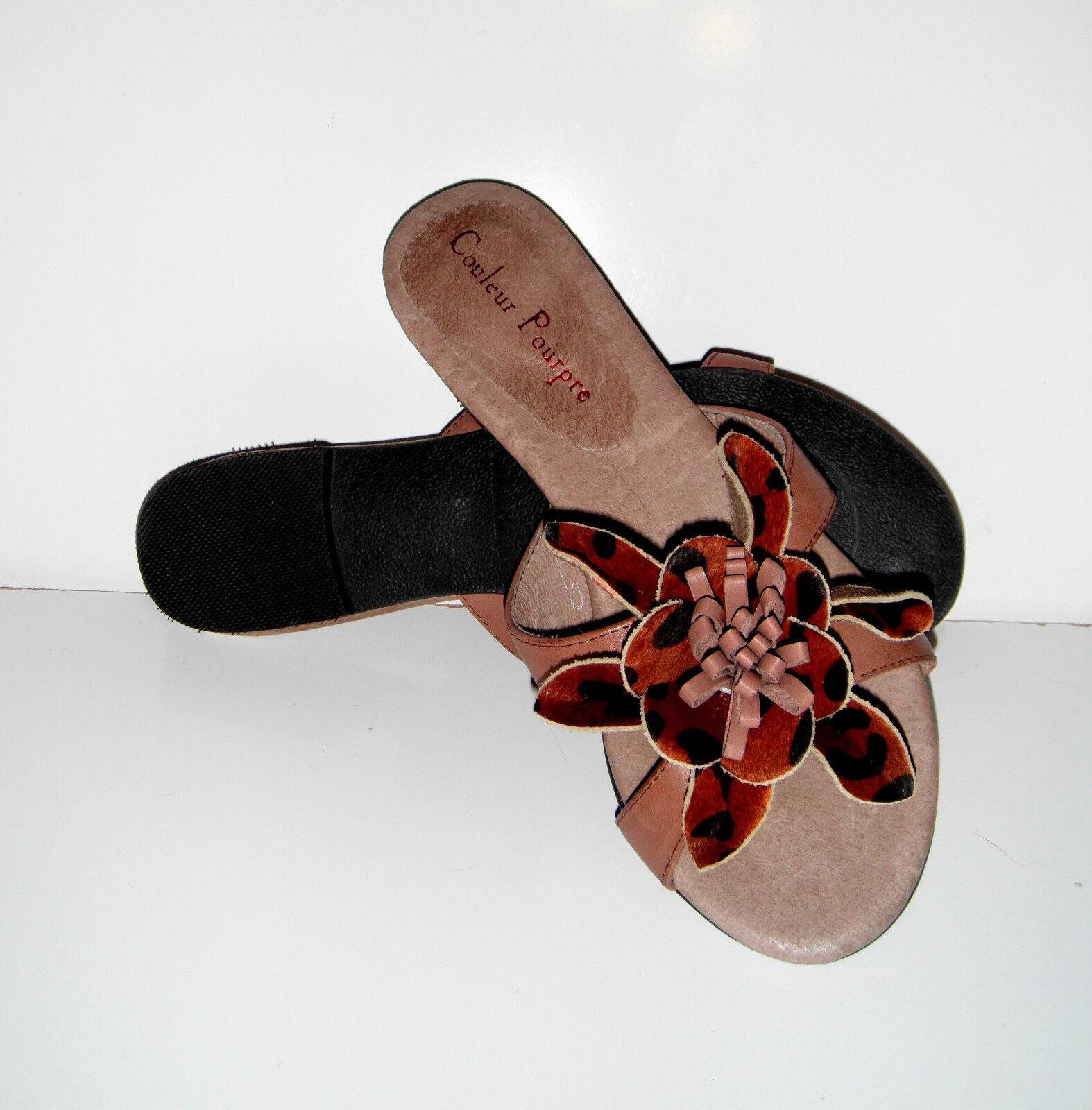 159 NEU  Couleur Pourpre Soft Braun Leder Sandale Schuhe sz 6/36 Top quality