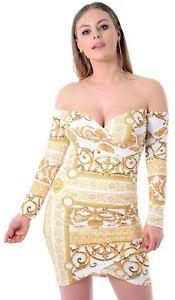 288d9691457e Details about New Ladies Off Shoulder Wrap Cross Long Sleeve Chain Print  Midi Dress 8-14