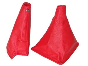 Gear-amp-Handbrake-Boot-For-Nissan-Skyline-R32-1989-94-Red-Leather